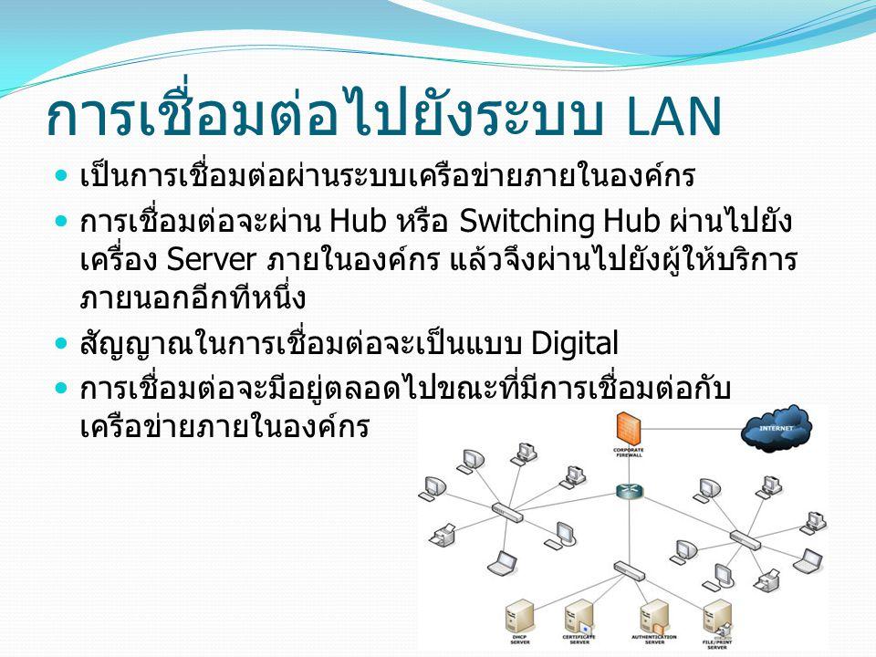 การเชื่อมต่อไปยังระบบ LAN เป็นการเชื่อมต่อผ่านระบบเครือข่ายภายในองค์กร การเชื่อมต่อจะผ่าน Hub หรือ Switching Hub ผ่านไปยัง เครื่อง Server ภายในองค์กร แล้วจึงผ่านไปยังผู้ให้บริการ ภายนอกอีกทีหนึ่ง สัญญาณในการเชื่อมต่อจะเป็นแบบ Digital การเชื่อมต่อจะมีอยู่ตลอดไปขณะที่มีการเชื่อมต่อกับ เครือข่ายภายในองค์กร