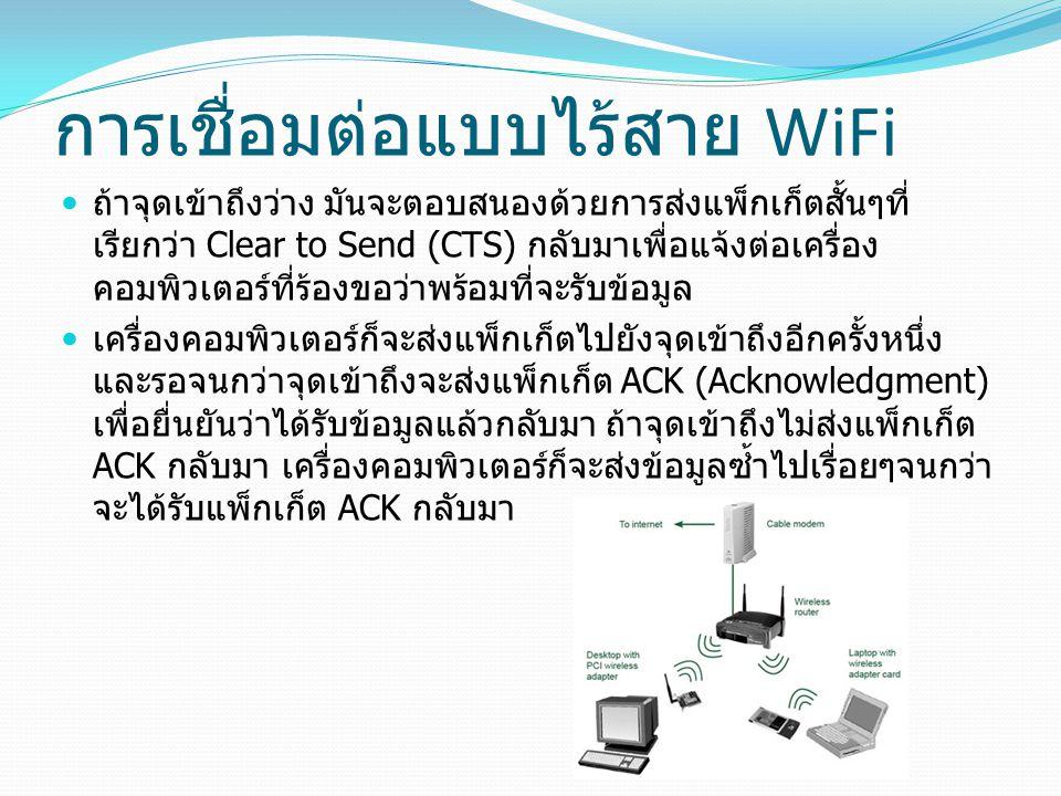 การเชื่อมต่อแบบไร้สาย WiFi ถ้าจุดเข้าถึงว่าง มันจะตอบสนองด้วยการส่งแพ็กเก็ตสั้นๆที่ เรียกว่า Clear to Send (CTS) กลับมาเพื่อแจ้งต่อเครื่อง คอมพิวเตอร์ที่ร้องขอว่าพร้อมที่จะรับข้อมูล เครื่องคอมพิวเตอร์ก็จะส่งแพ็กเก็ตไปยังจุดเข้าถึงอีกครั้งหนึ่ง และรอจนกว่าจุดเข้าถึงจะส่งแพ็กเก็ต ACK (Acknowledgment) เพื่อยื่นยันว่าได้รับข้อมูลแล้วกลับมา ถ้าจุดเข้าถึงไม่ส่งแพ็กเก็ต ACK กลับมา เครื่องคอมพิวเตอร์ก็จะส่งข้อมูลซ้ำไปเรื่อยๆจนกว่า จะได้รับแพ็กเก็ต ACK กลับมา