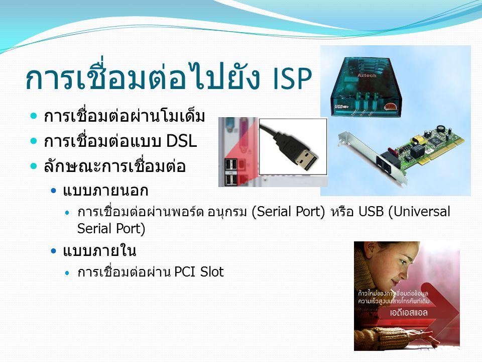 การเชื่อมต่อไปยัง ISP การเชื่อมต่อผ่านโมเด็ม การเชื่อมต่อแบบ DSL ลักษณะการเชื่อมต่อ แบบภายนอก การเชื่อมต่อผ่านพอร์ต อนุกรม (Serial Port) หรือ USB (Universal Serial Port) แบบภายใน การเชื่อมต่อผ่าน PCI Slot