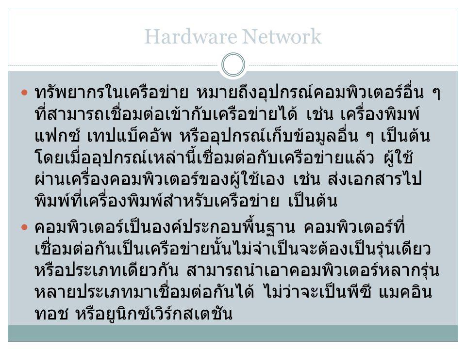 Hardware Network ทรัพยากรในเครือข่าย หมายถึงอุปกรณ์คอมพิวเตอร์อื่น ๆ ที่สามารถเชื่อมต่อเข้ากับเครือข่ายได้ เช่น เครื่องพิมพ์ แฟกซ์ เทปแบ็คอัพ หรืออุปกรณ์เก็บข้อมูลอื่น ๆ เป็นต้น โดยเมื่ออุปกรณ์เหล่านี้เชื่อมต่อกับเครือข่ายแล้ว ผู้ใช้ ผ่านเครื่องคอมพิวเตอร์ของผู้ใช้เอง เช่น ส่งเอกสารไป พิมพ์ที่เครื่องพิมพ์สำหรับเครือข่าย เป็นต้น คอมพิวเตอร์เป็นองค์ประกอบพื้นฐาน คอมพิวเตอร์ที่ เชื่อมต่อกันเป็นเครือข่ายนั้นไม่จำเป็นจะต้องเป็นรุ่นเดียว หรือประเภทเดียวกัน สามารถนำเอาคอมพิวเตอร์หลากรุ่น หลายประเภทมาเชื่อมต่อกันได้ ไม่ว่าจะเป็นพีซี แมคอิน ทอช หรือยูนิกซ์เวิร์กสเตชัน