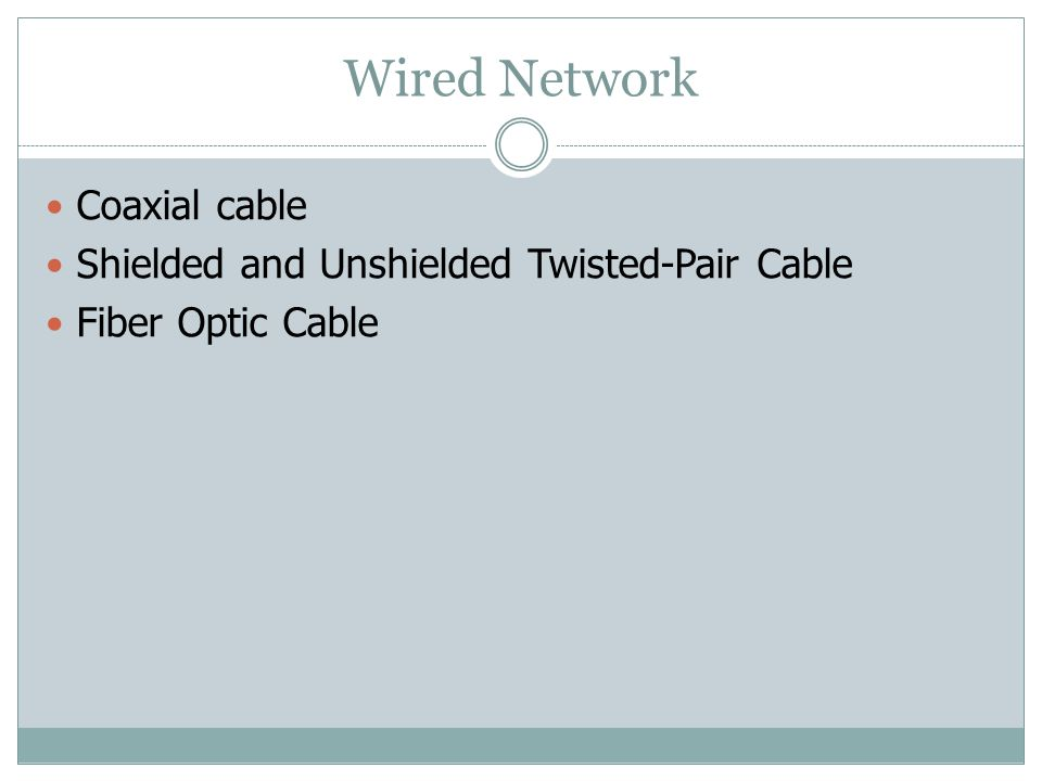 Wired Network Coaxial cable Shielded and Unshielded Twisted-Pair Cable Fiber Optic Cable