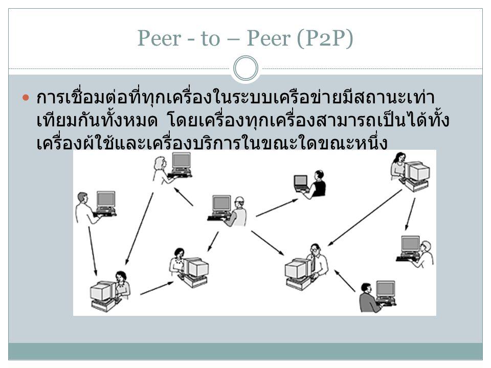 Peer - to – Peer (P2P) การเชื่อมต่อที่ทุกเครื่องในระบบเครือข่ายมีสถานะเท่า เทียมกันทั้งหมด โดยเครื่องทุกเครื่องสามารถเป็นได้ทั้ง เครื่องผู้ใช้และเครื่องบริการในขณะใดขณะหนึ่ง