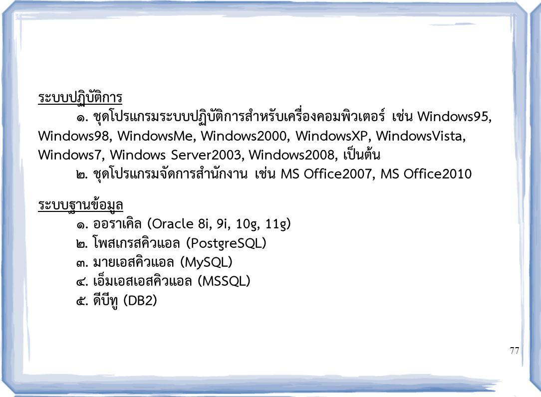 77 ระบบปฏิบัติการ ๑. ชุดโปรแกรมระบบปฏิบัติการสำหรับเครื่องคอมพิวเตอร์ เช่น Windows95, Windows98, WindowsMe, Windows2000, WindowsXP, WindowsVista, Wind
