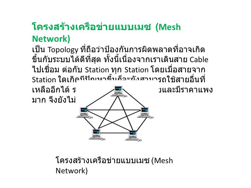 โครงสร้างเครือข่ายแบบเมซ (Mesh Network) เป็น Topology ที่ถือว่าป้องกันการผิดพลาดที่อาจเกิด ขึ้นกับระบบได้ดีที่สุด ทั้งนี้เนื่องจากเราเดินสาย Cable ไปเ