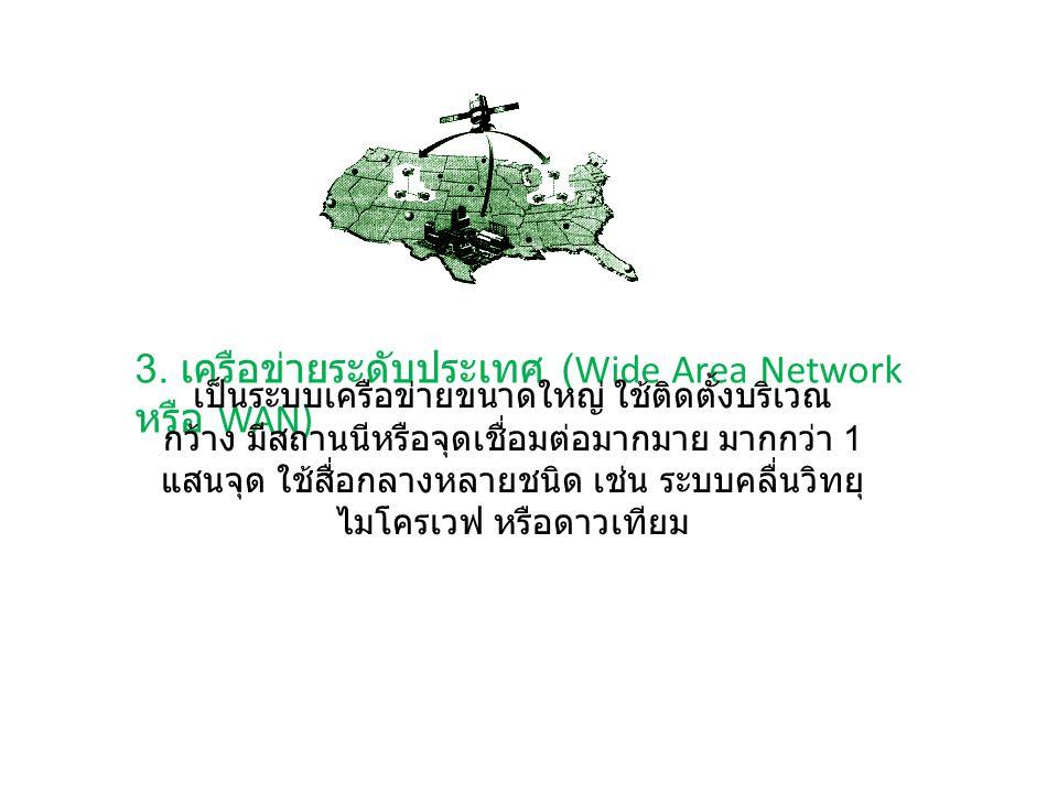 3. เครือข่ายระดับประเทศ (Wide Area Network หรือ WAN) เป็นระบบเครือข่ายขนาดใหญ่ ใช้ติดตั้งบริเวณ กว้าง มีสถานนีหรือจุดเชื่อมต่อมากมาย มากกว่า 1 แสนจุด