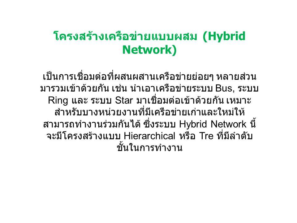 โครงสร้างเครือข่ายแบบผสม (Hybrid Network) เป็นการเชื่อมต่อที่ผสนผสานเครือข่ายย่อยๆ หลายส่วน มารวมเข้าด้วยกัน เช่น นำเอาเครือข่ายระบบ Bus, ระบบ Ring แล