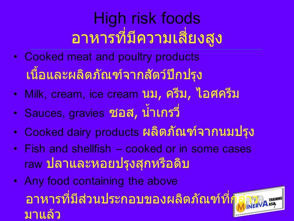 7 High risk foods อาหารที่มีความเสี่ยงสูง Cooked meat and poultry products เนื้อและผลิตภัณฑ์จากสัตว์ปีกปรุง Milk, cream, ice cream นม, ครีม, ไอศครีม S