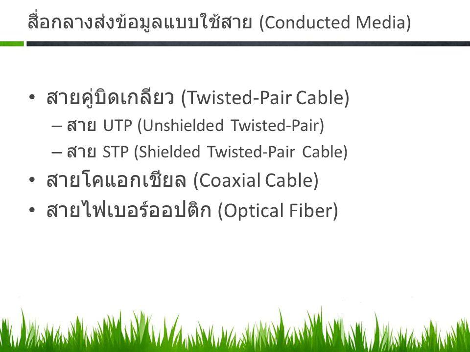 สื่อกลางส่งข้อมูลแบบใช้สาย (Conducted Media) สายคู่บิดเกลียว (Twisted-Pair Cable) – สาย UTP (Unshielded Twisted-Pair) – สาย STP (Shielded Twisted-Pair