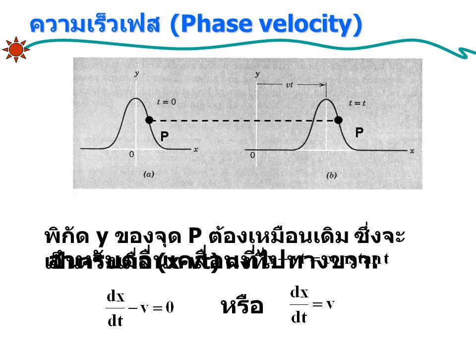 สำหรับคลื่นเคลื่อนที่ไปทางขวา : หรือ ความเร็วเฟส (Phase velocity) พิกัด y ของจุด P ต้องเหมือนเดิม ซึ่งจะ เป็นจริงเมื่อ (x-vt) คงที่ P P