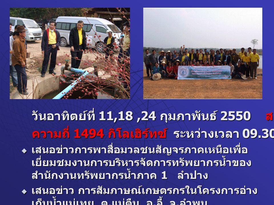  วันที่ 25 กุมภาพันธ์ 2550 สถานีวิทยุ คลื่น AM 1386 KHz รายการ มรดกโลก เวลาประมาณ 08.30- 09.30 น.