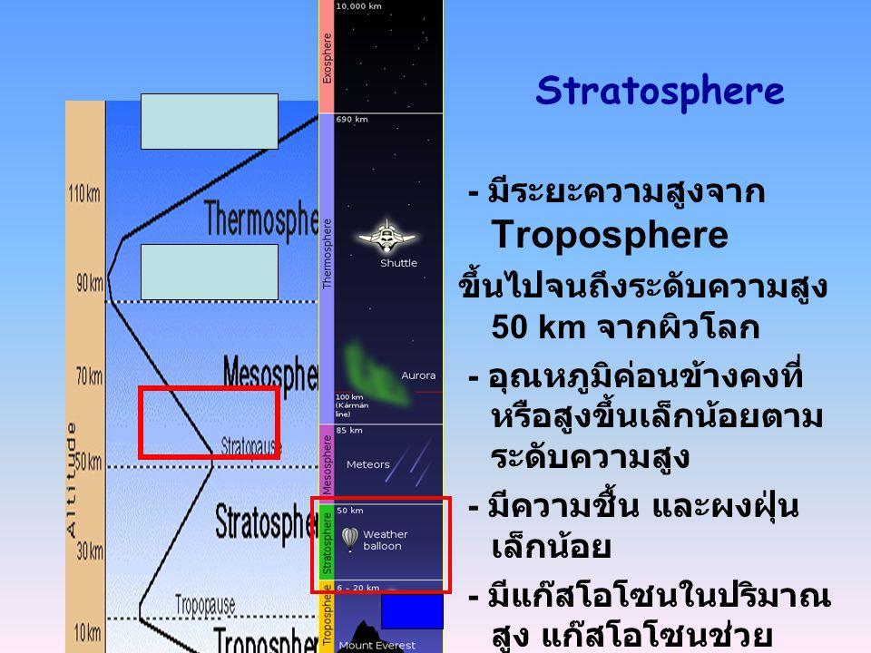 Stratosphere - มีระยะความสูงจาก Troposphere ขึ้นไปจนถึงระดับความสูง 50 km จากผิวโลก - อุณหภูมิค่อนข้างคงที่ หรือสูงขึ้นเล็กน้อยตาม ระดับความสูง - มีคว