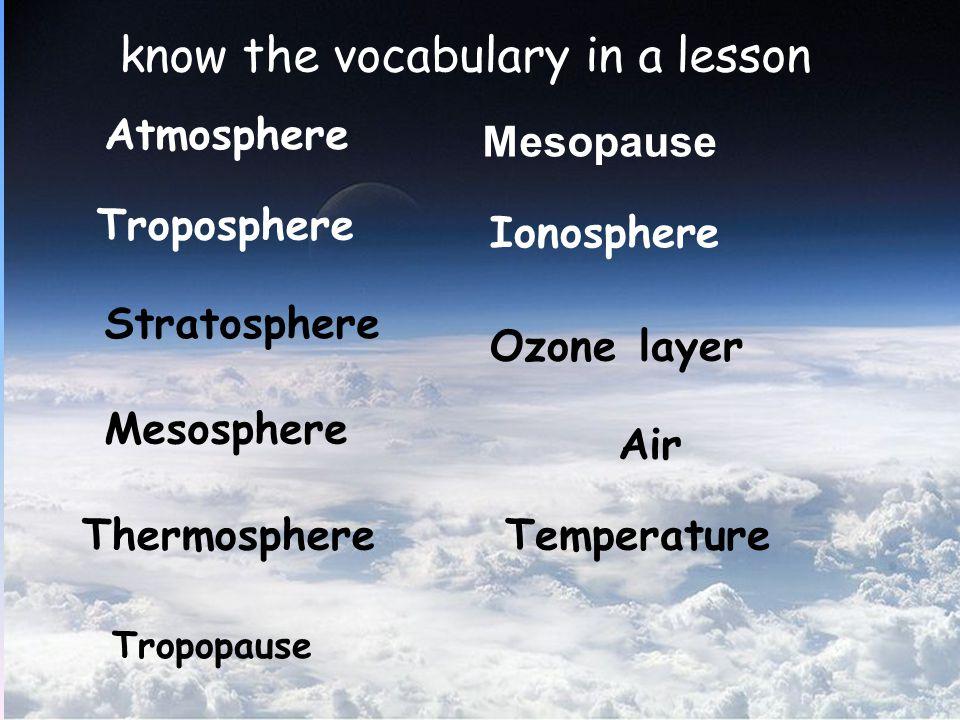 Mesosphere - มีระยะความสูงจาก Stratosphere ขึ้นไปจนถึง ระดับความสูง 80 km จากผิวโลก - อุณหภูมิลดลงตามระดับ ความสูง - เมื่อมีวัตถุนอกโลกผ่าน เข้ามาจะเริ่มเกิด การ เผาไหม้