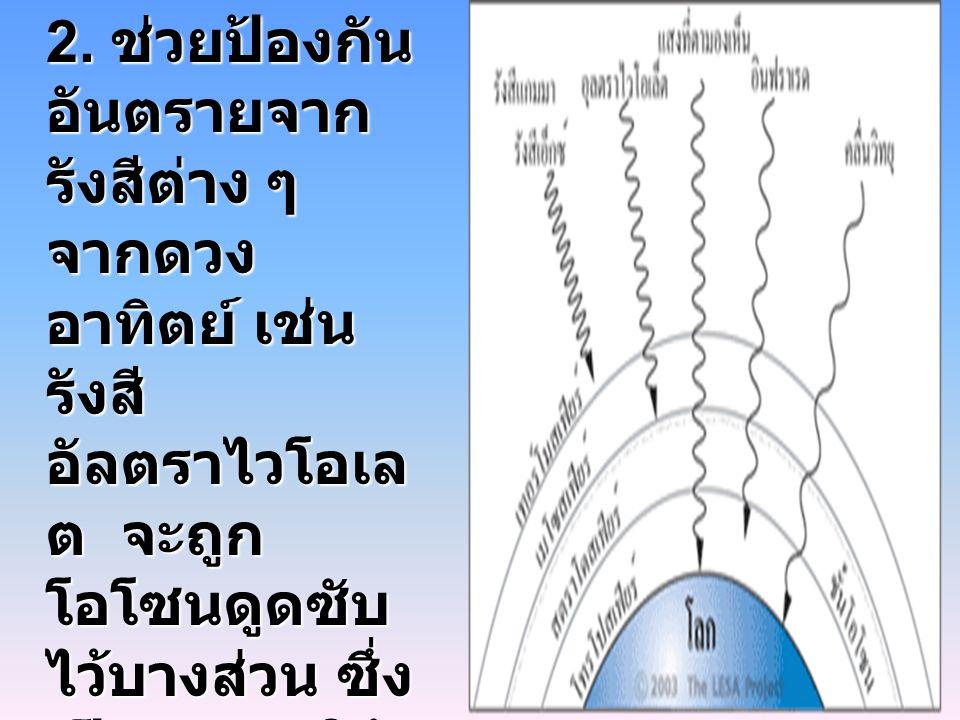 2. ช่วยป้องกัน อันตรายจาก รังสีต่าง ๆ จากดวง อาทิตย์ เช่น รังสี อัลตราไวโอเล ต จะถูก โอโซนดูดซับ ไว้บางส่วน ซึ่ง เป็นสาเหตุให้ เซลล์ผิวหนัง ถูกทำลายแล
