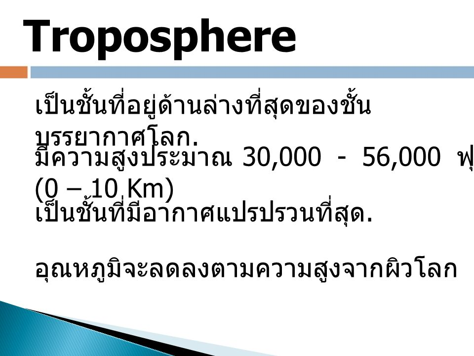 The Troposphere is the lowest layer of atmosphere.