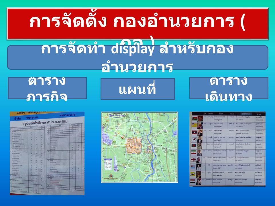 การจัดตั้ง กองอำนวยการ ( กอ.) ตาราง ภารกิจ แผนที่ ตาราง เดินทาง การจัดทำ display สำหรับกอง อำนวยการ