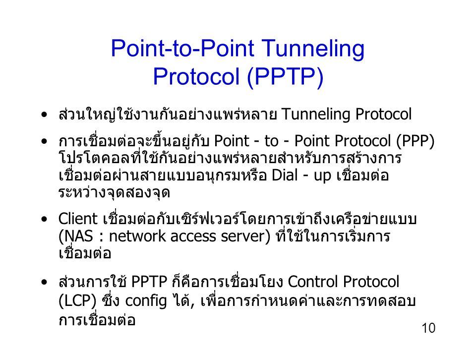 10 Point-to-Point Tunneling Protocol (PPTP) ส่วนใหญ่ใช้งานกันอย่างแพร่หลาย Tunneling Protocol การเชื่อมต่อจะขึ้นอยู่กับ Point - to - Point Protocol (PPP) โปรโตคอลที่ใช้กันอย่างแพร่หลายสำหรับการสร้างการ เชื่อมต่อผ่านสายแบบอนุกรมหรือ Dial - up เชื่อมต่อ ระหว่างจุดสองจุด Client เชื่อมต่อกับเซิร์ฟเวอร์โดยการเข้าถึงเครือข่ายแบบ (NAS : network access server) ที่ใช้ในการเริ่มการ เชื่อมต่อ ส่วนการใช้ PPTP ก็คือการเชื่อมโยง Control Protocol (LCP) ซึ่ง config ได้, เพื่อการกำหนดค่าและการทดสอบ การเชื่อมต่อ