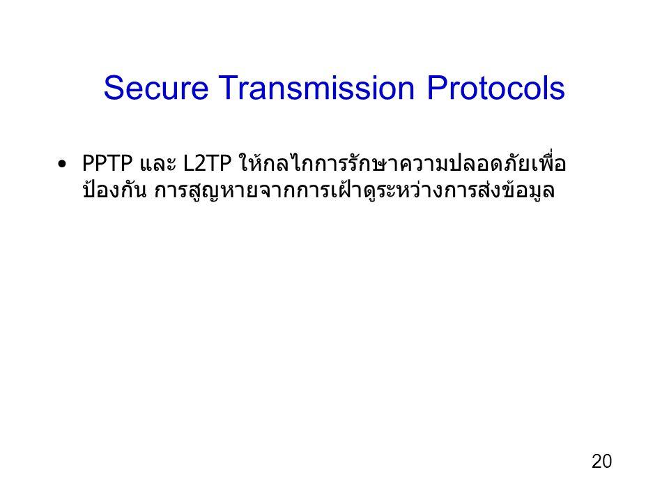 20 Secure Transmission Protocols PPTP และ L2TP ให้กลไกการรักษาความปลอดภัยเพื่อ ป้องกัน การสูญหายจากการเฝ้าดูระหว่างการส่งข้อมูล