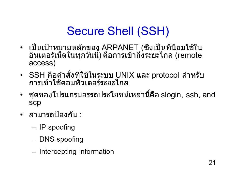 21 Secure Shell (SSH) เป็นเป้าหมายหลักของ ARPANET ( ซึ่งเป็นที่นิยมใช้ใน อินเตอร์เน็ตในทุกวันนี้ ) คือการเข้าถึงระยะไกล (remote access) SSH คือคำสั่งที่ใช้ในระบบ UNIX และ protocol สำหรับ การเข้าใช้คอมพิวเตอร์ระยะไกล ชุดของโปรแกรมอรรถประโยชน์เหล่านี้คือ slogin, ssh, and scp สามารถป้องกัน : –IP spoofing –DNS spoofing –Intercepting information