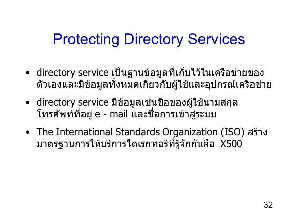 32 Protecting Directory Services directory service เป็นฐานข้อมูลที่เก็บไว้ในเครือข่ายของ ตัวเองและมีข้อมูลทั้งหมดเกี่ยวกับผู้ใช้และอุปกรณ์เครือข่าย directory service มีข้อมูลเช่นชื่อของผู้ใช้นามสกุล โทรศัพท์ที่อยู่ e - mail และชื่อการเข้าสู่ระบบ The International Standards Organization (ISO) สร้าง มาตรฐานการให้บริการไดเรกทอรีที่รู้จักกันคือ X500