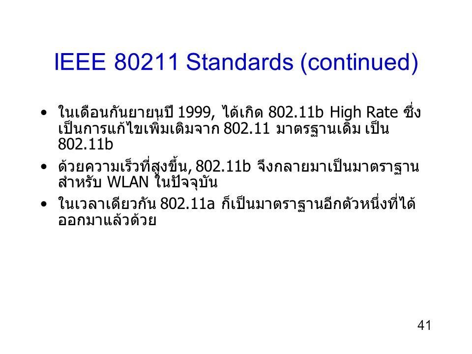 41 IEEE 80211 Standards (continued) ในเดือนกันยายนปี 1999, ได้เกิด 802.11b High Rate ซึ่ง เป็นการแก้ไขเพิ่มเติมจาก 802.11 มาตรฐานเดิม เป็น 802.11b ด้วยความเร็วที่สูงขึ้น, 802.11b จึงกลายมาเป็นมาตราฐาน สำหรับ WLAN ในปัจจุบัน ในเวลาเดียวกัน 802.11a ก็เป็นมาตราฐานอีกตัวหนึ่งที่ได้ ออกมาแล้วด้วย