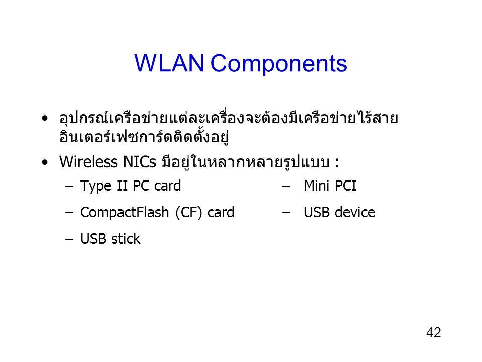 42 WLAN Components อุปกรณ์เครือข่ายแต่ละเครื่องจะต้องมีเครือข่ายไร้สาย อินเตอร์เฟซการ์ดติดตั้งอยู่ Wireless NICs มีอยู่ในหลากหลายรูปแบบ : –Type II PC card– Mini PCI –CompactFlash (CF) card– USB device –USB stick