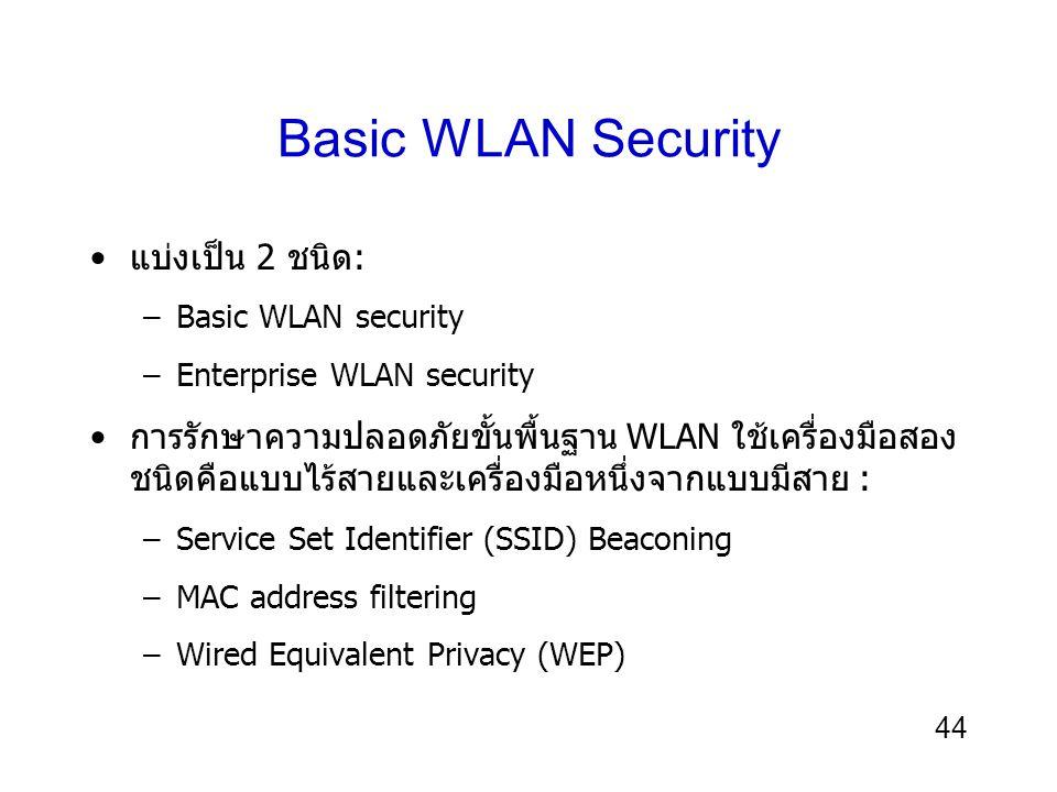 44 Basic WLAN Security แบ่งเป็น 2 ชนิด: –Basic WLAN security –Enterprise WLAN security การรักษาความปลอดภัยขั้นพื้นฐาน WLAN ใช้เครื่องมือสอง ชนิดคือแบบไร้สายและเครื่องมือหนึ่งจากแบบมีสาย : –Service Set Identifier (SSID) Beaconing –MAC address filtering –Wired Equivalent Privacy (WEP)