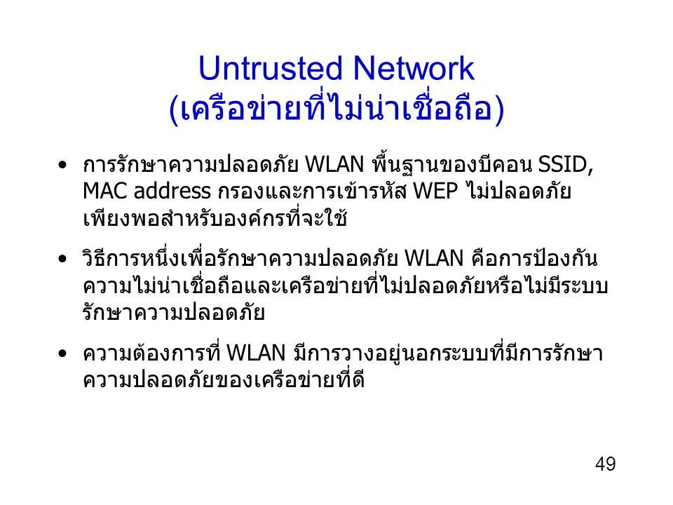 49 Untrusted Network ( เครือข่ายที่ไม่น่าเชื่อถือ ) การรักษาความปลอดภัย WLAN พื้นฐานของบีคอน SSID, MAC address กรองและการเข้ารหัส WEP ไม่ปลอดภัย เพียงพอสำหรับองค์กรที่จะใช้ วิธีการหนึ่งเพื่อรักษาความปลอดภัย WLAN คือการป้องกัน ความไม่น่าเชื่อถือและเครือข่ายที่ไม่ปลอดภัยหรือไม่มีระบบ รักษาความปลอดภัย ความต้องการที่ WLAN มีการวางอยู่นอกระบบที่มีการรักษา ความปลอดภัยของเครือข่ายที่ดี