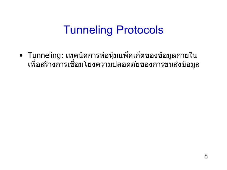 8 Tunneling Protocols Tunneling: เทคนิคการห่อหุ้มแพ็คเก็ตของข้อมูลภายใน เพื่อสร้างการเชื่อมโยงความปลอดภัยของการขนส่งข้อมูล