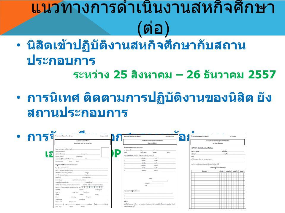แนวทางการดำเนินงานสหกิจศึกษา ( ต่อ ) นิสิตเข้าปฏิบัติงานสหกิจศึกษากับสถาน ประกอบการ ระหว่าง 25 สิงหาคม – 26 ธันวาคม 2557 การนิเทศ ติดตามการปฏิบัติงานของนิสิต ยัง สถานประกอบการ การจัดเตรียมเอกสารตามข้อกำหนด เอกสาร CO-OP 01 – 12