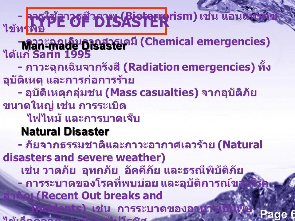 Powerpoint Templates Page 6 - การใช้อาวุธชีวภาพ (Bioterrorism) เช่น แอนแทรกซ์ ไข้ทรพิษ - ภาวะฉุกเฉินจากสารเคมี (Chemical emergencies) ได้แก่ Sarin 199