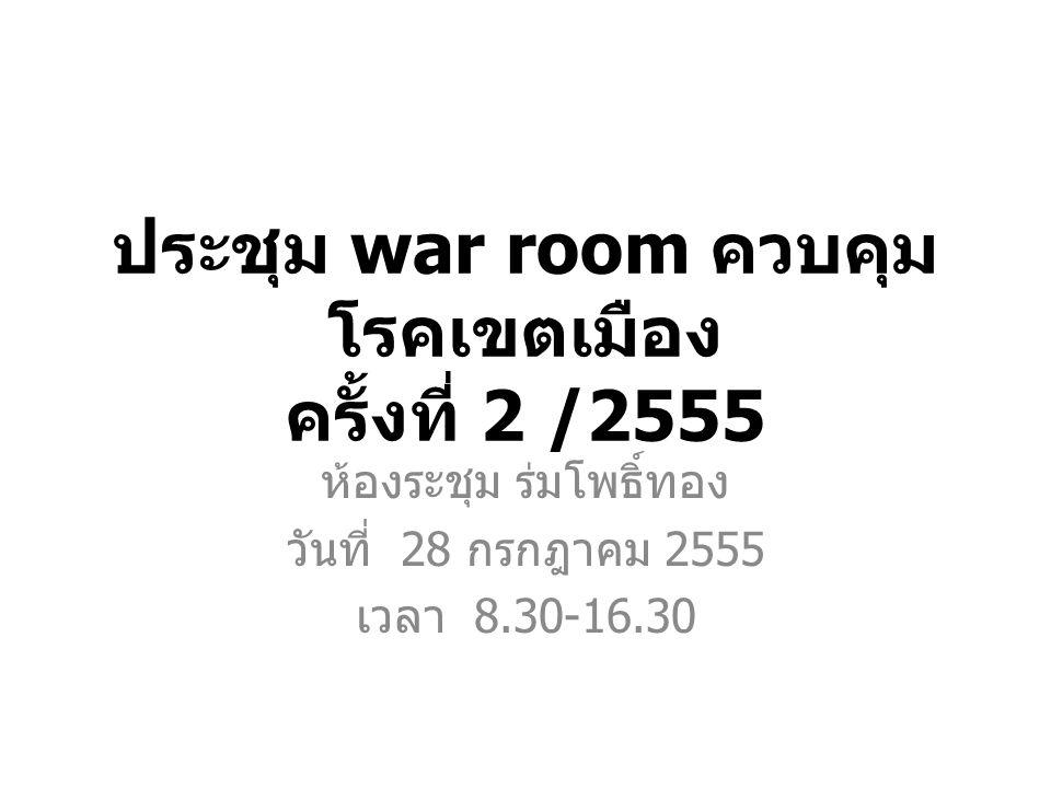 ประชุม war room ควบคุม โรคเขตเมือง ครั้งที่ 2 /2555 ห้องระชุม ร่มโพธิ์ทอง วันที่ 28 กรกฎาคม 2555 เวลา 8.30-16.30