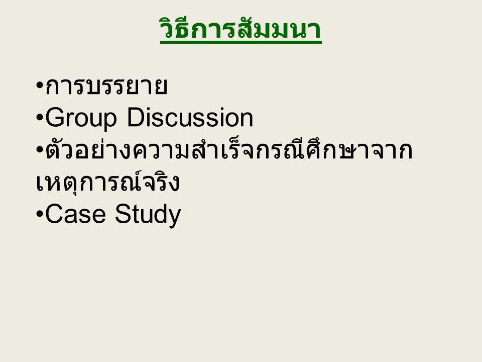 วิธีการสัมมนา การบรรยาย Group Discussion ตัวอย่างความสำเร็จกรณีศึกษาจาก เหตุการณ์จริง Case Study