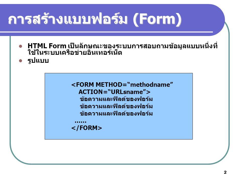 3 การสร้างแบบฟอร์ม (2) ฟอร์ม (Form) ใช้ในการรับข้อมูลจากผู้ใช้ และทำงานร่วมกับ โปรแกรมย่อยๆ หรือ Script ที่เรียกว่า Common Gateway Interface(CGI) CGI เป็นโปรแกรมตัวกลางที่ทำหน้าที่เชื่อมโยงข้อมูลระหว่าง เครื่องคอมพิวเตอร์ของผู้ใช้กับเครื่อง Server โดย Server รวบรวมข้อมูลที่ผู้ใช้ป้อนมา เพื่อประมวลผล เมื่อเสร็จแล้วส่ง ผลลัพธ์กลับไปยังผู้ใช้