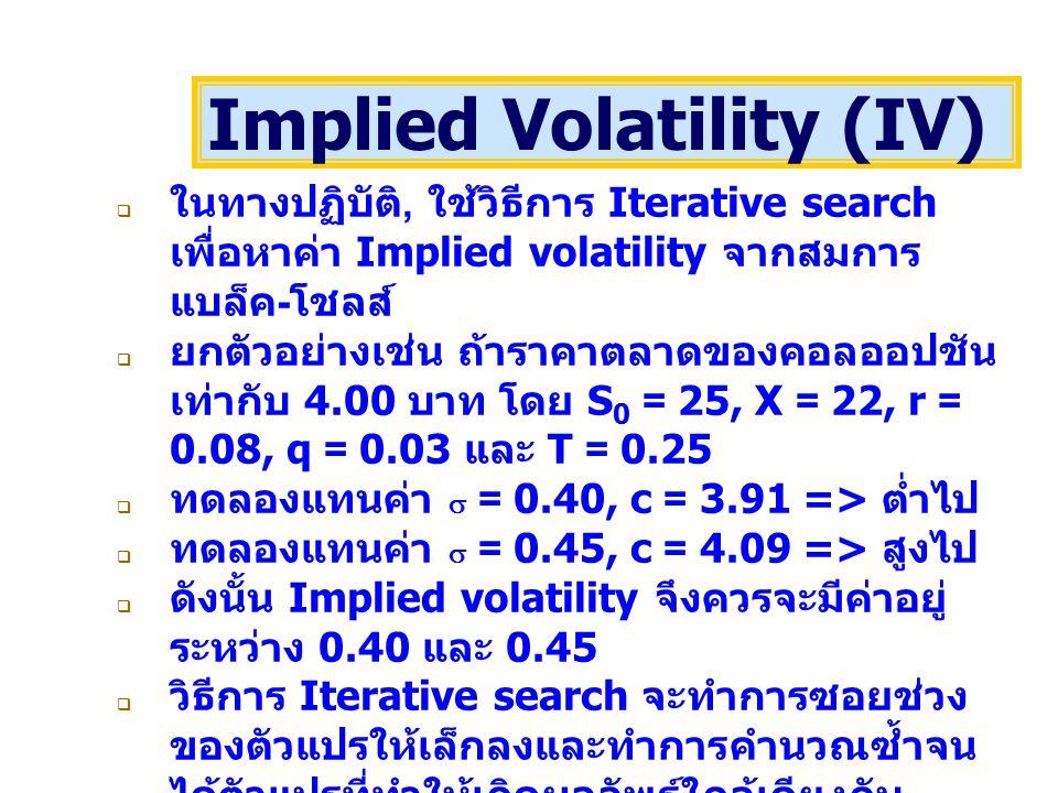  ในทางปฏิบัติ, ใช้วิธีการ Iterative search เพื่อหาค่า Implied volatility จากสมการ แบล็ค - โชลส์  ยกตัวอย่างเช่น ถ้าราคาตลาดของคอลออปชัน เท่ากับ 4.00