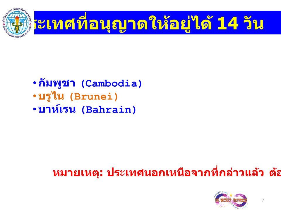 7 ประเทศที่อนุญาตให้อยู่ได้ 14 วัน กัมพูชา (Cambodia) บรูไน (Brunei) บาห์เรน (Bahrain) หมายเหตุ : ประเทศนอกเหนือจากที่กล่าวแล้ว ต้องขอ Visa