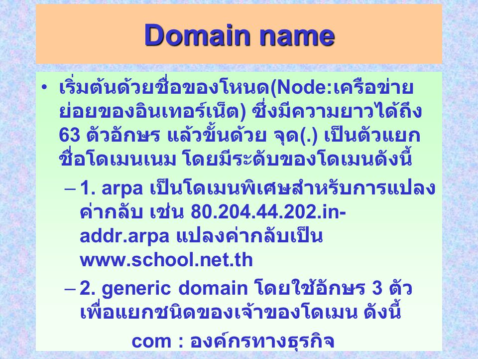 Domain name เริ่มต้นด้วยชื่อของโหนด (Node: เครือข่าย ย่อยของอินเทอร์เน็ต ) ซึ่งมีความยาวได้ถึง 63 ตัวอักษร แล้วขั้นด้วย จุด (.) เป็นตัวแยก ชื่อโดเมนเนม โดยมีระดับของโดเมนดังนี้ –1.