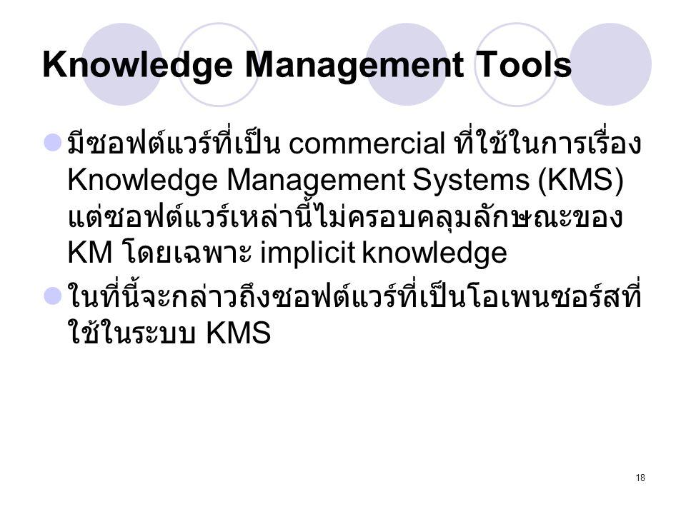 18 Knowledge Management Tools มีซอฟต์แวร์ที่เป็น commercial ที่ใช้ในการเรื่อง Knowledge Management Systems (KMS) แต่ซอฟต์แวร์เหล่านี้ไม่ครอบคลุมลักษณะ