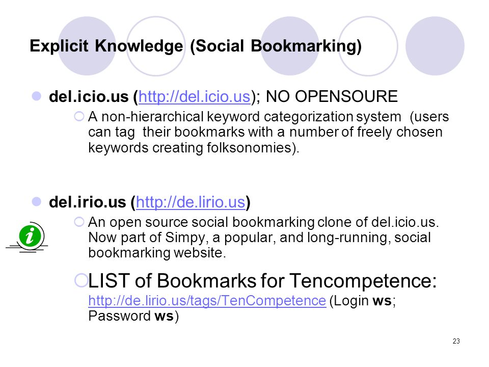 23 Explicit Knowledge (Social Bookmarking) del.icio.us (http://del.icio.us); NO OPENSOUREhttp://del.icio.us  A non-hierarchical keyword categorizatio