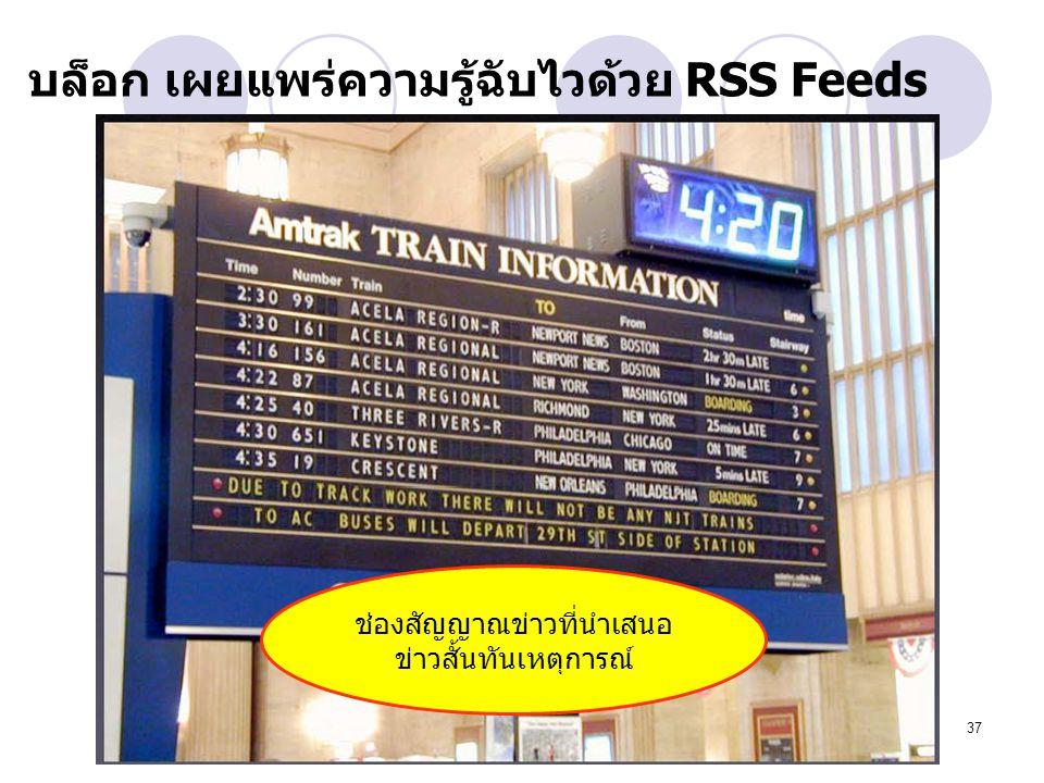 37 บล็อก เผยแพร่ความรู้ฉับไวด้วย RSS Feeds ช่องสัญญาณข่าวที่นำเสนอ ข่าวสั้นทันเหตุการณ์