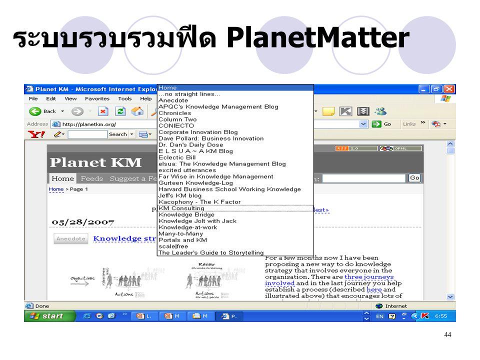 44 ระบบรวบรวมฟีด PlanetMatter