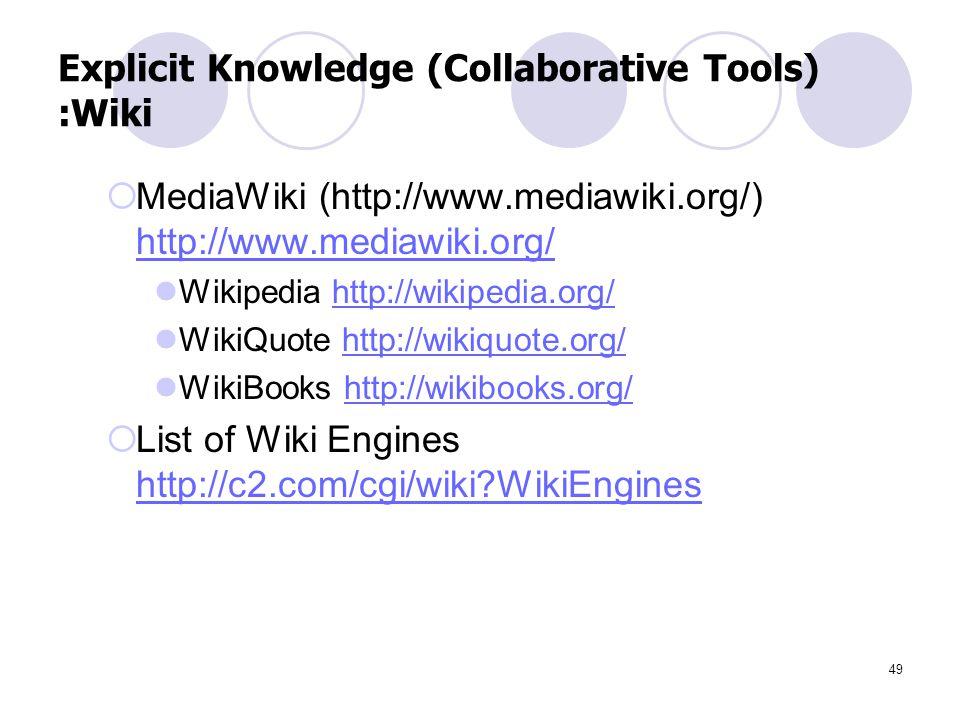 49 Explicit Knowledge (Collaborative Tools) :Wiki  MediaWiki (http://www.mediawiki.org/) http://www.mediawiki.org/ http://www.mediawiki.org/ Wikipedi