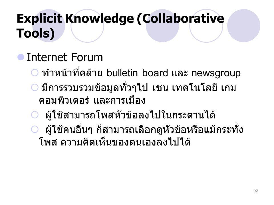 50 Explicit Knowledge (Collaborative Tools) Internet Forum  ทำหน้าที่คล้าย bulletin board และ newsgroup  มีการรวบรวมข้อมูลทั่วๆไป เช่น เทคโนโลยี เกม