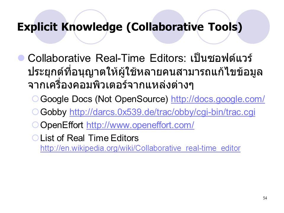 54 Explicit Knowledge (Collaborative Tools) Collaborative Real-Time Editors: เป็นซอฟต์แวร์ ประยุกต์ที่อนุญาตให้ผู้ใช้หลายคนสามารถแก้ไขข้อมูล จากเครื่อ