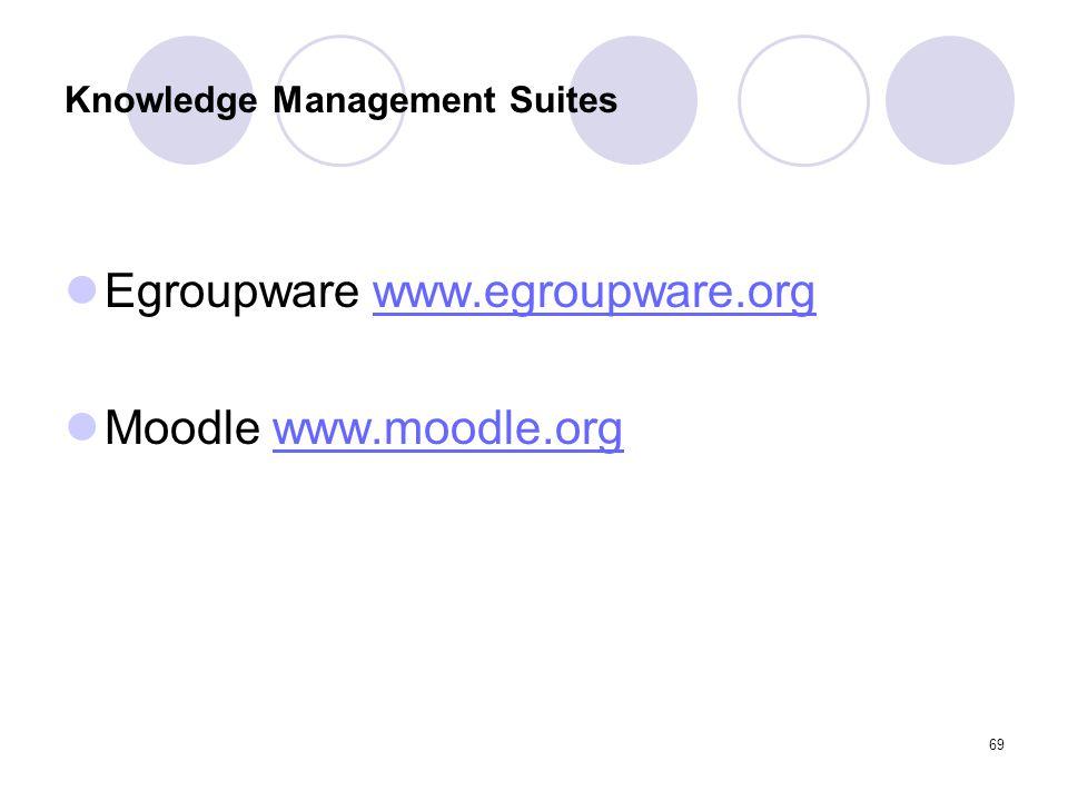 69 Knowledge Management Suites Egroupware www.egroupware.orgwww.egroupware.org Moodle www.moodle.orgwww.moodle.org