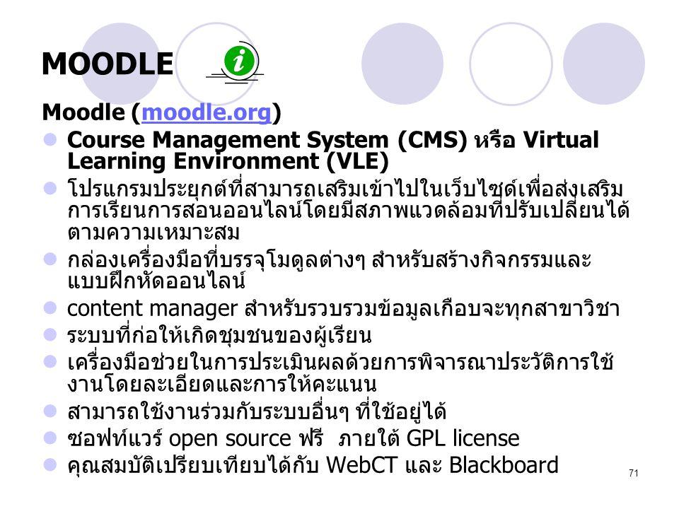 71 MOODLE Moodle (moodle.org)moodle.org Course Management System (CMS) หรือ Virtual Learning Environment (VLE) โปรแกรมประยุกต์ที่สามารถเสริมเข้าไปในเว
