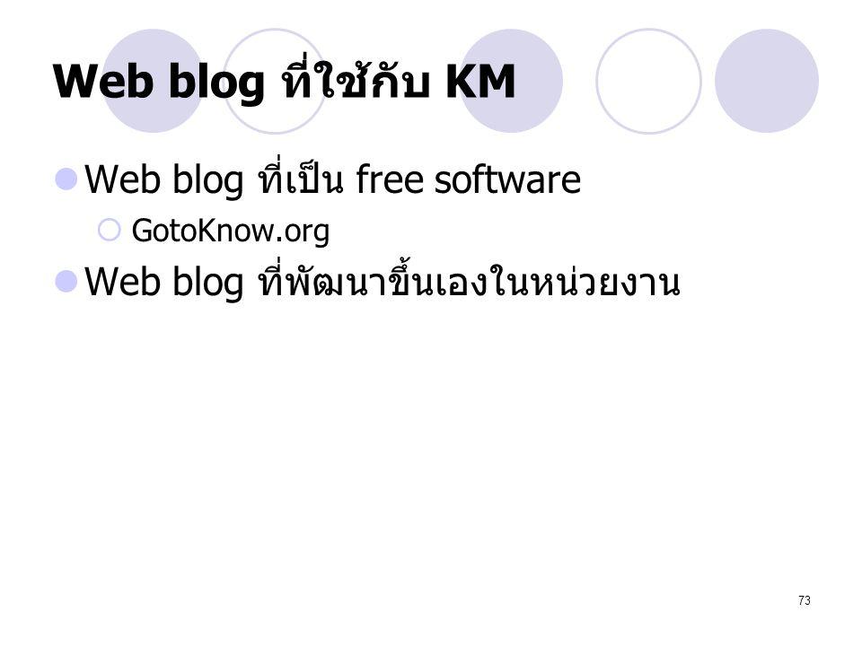 73 Web blog ที่ใช้กับ KM Web blog ที่เป็น free software  GotoKnow.org Web blog ที่พัฒนาขึ้นเองในหน่วยงาน