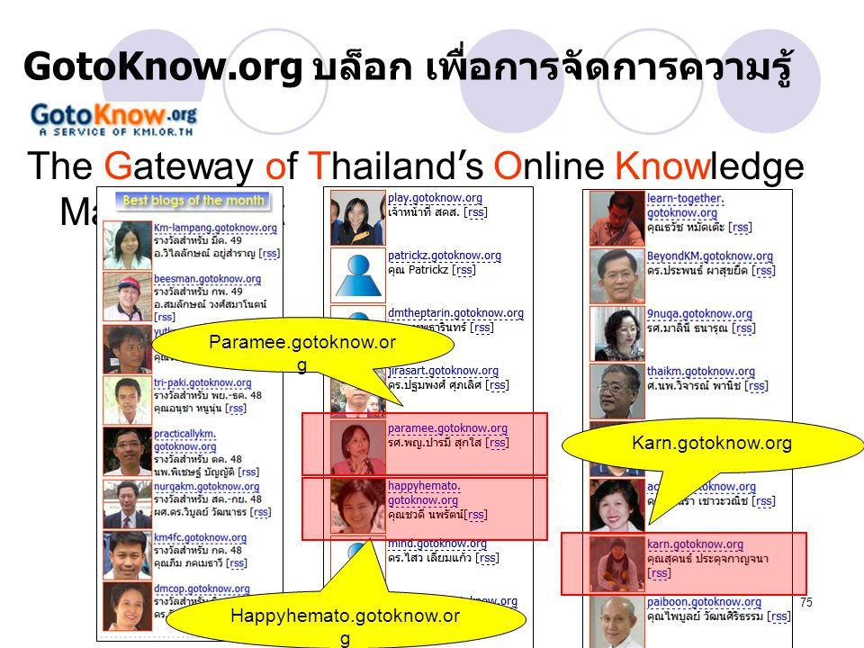 75 GotoKnow.org บล็อก เพื่อการจัดการความรู้ The Gateway of Thailand ' s Online Knowledge Management Paramee.gotoknow.or g Happyhemato.gotoknow.or g Ka