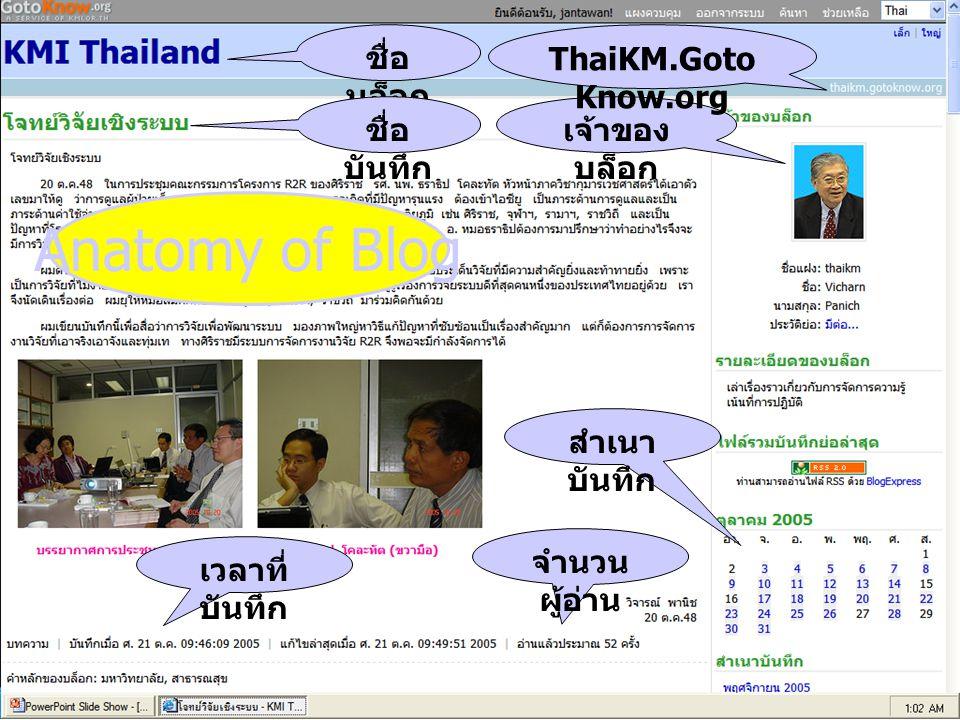 76 ชื่อ บล็อก ชื่อ บันทึก เจ้าของ บล็อก ThaiKM.Goto Know.org เวลาที่ บันทึก จำนวน ผู้อ่าน สำเนา บันทึก Anatomy of Blog