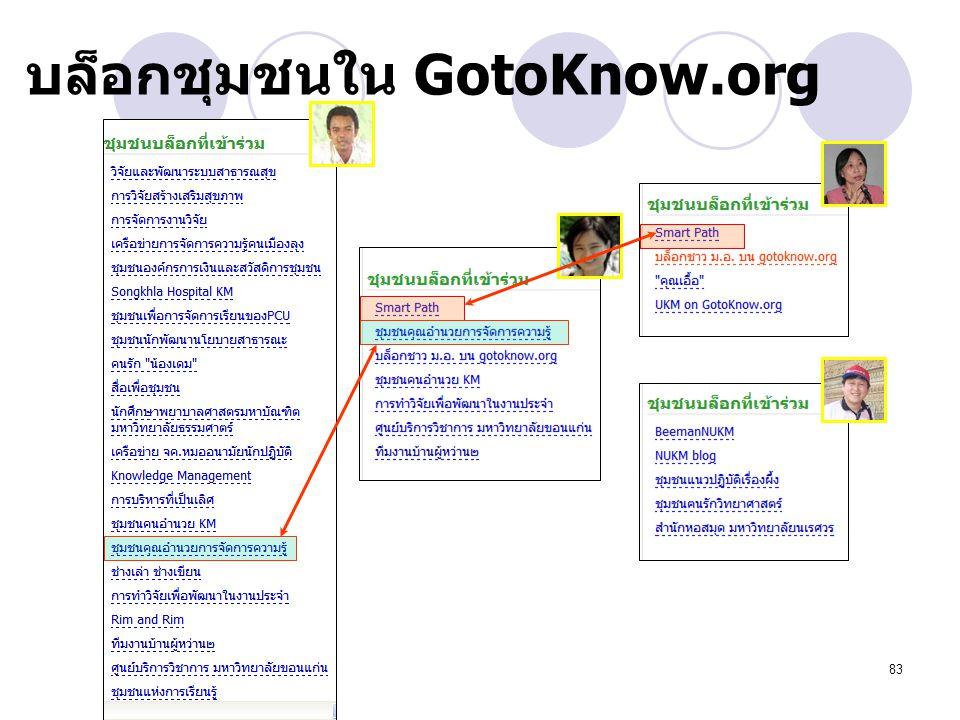 83 บล็อกชุมชนใน GotoKnow.org