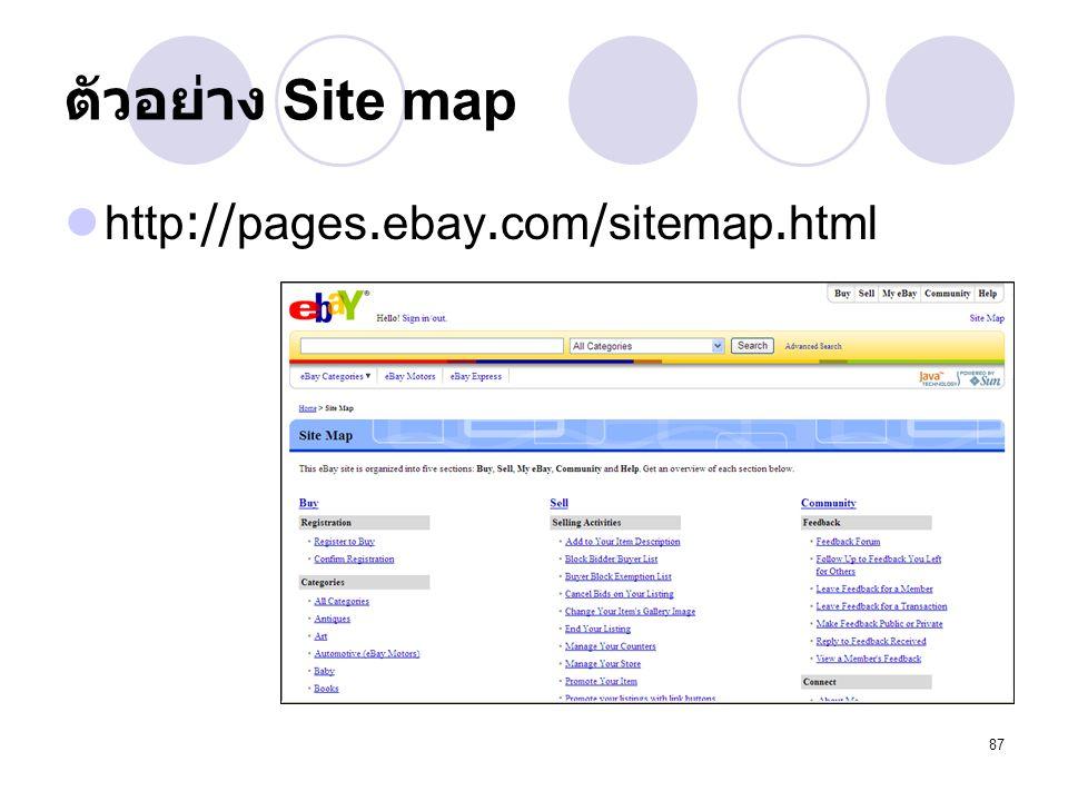 87 ตัวอย่าง Site map http://pages.ebay.com/sitemap.html